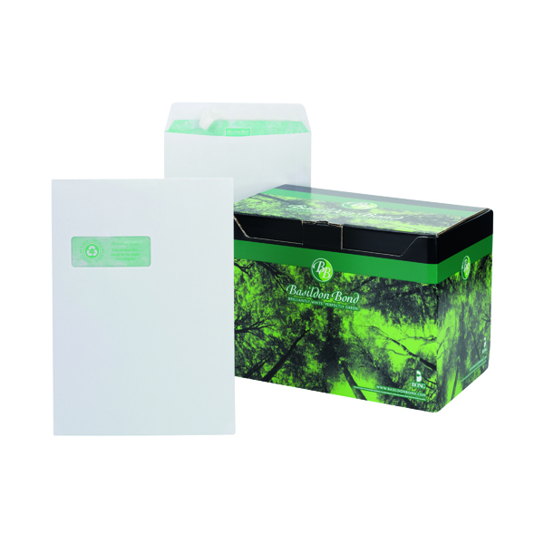 Basildon Bond C4 Envelopes Window Pocket Peel and Seal 120gsm White (250 Pack) K80121
