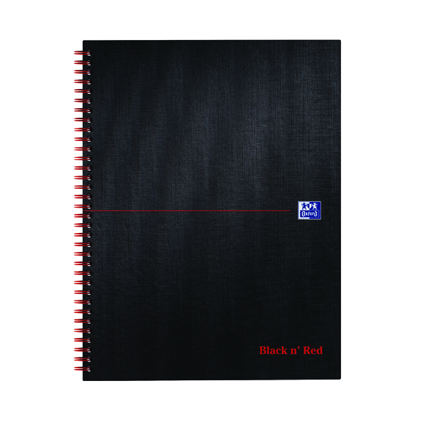 Black n' Red Smart Ruled Wirebound Hardback Notebook 140 Pages A4+ (5 Pack) 846364903