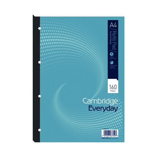 Cambridge Everyday Ruled Margin Refill Pad 160 Pages A4 (5 Pack) 846200192