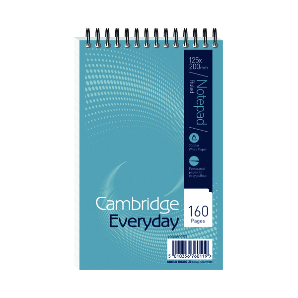 Cambridge Everyday Ruled Wirebound Notebook 160 Pages 125 x 200mm (10 Pack) 846200078
