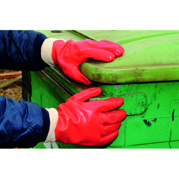 Polyco PVC Knitwrist Glove One Size Red P10R/E10
