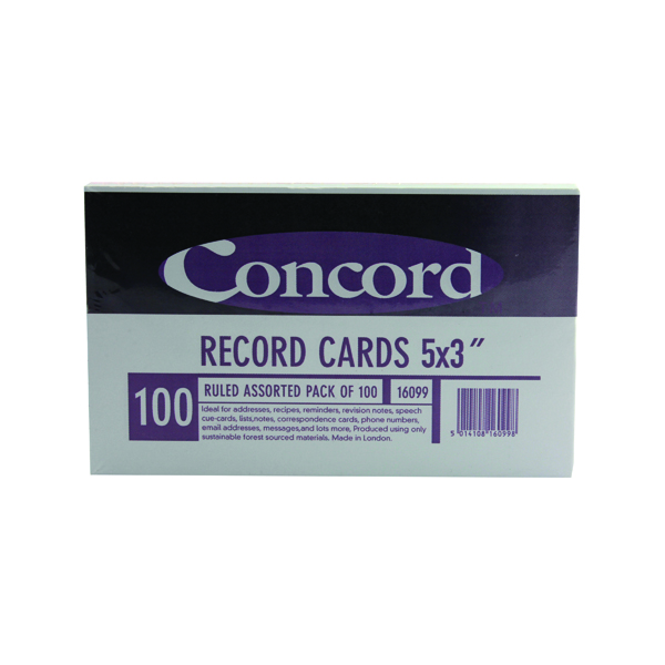 Concord Record Card 127x76mm Assorted (100 Pack) 16099/160