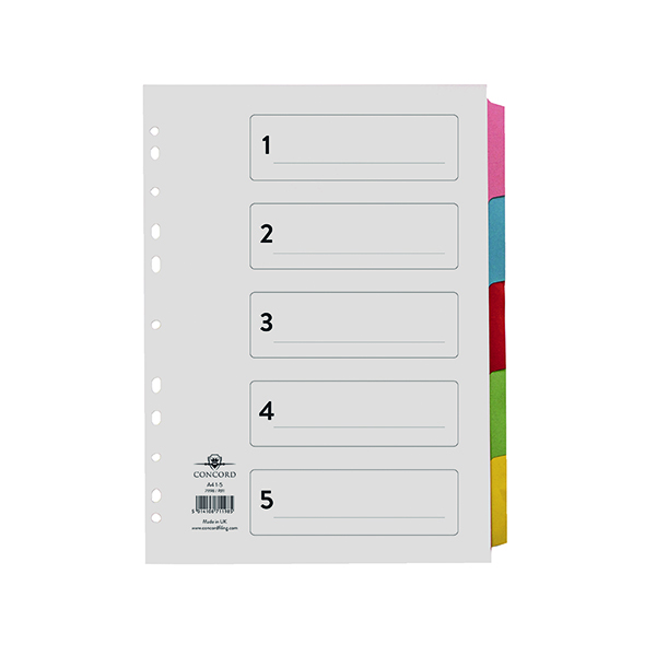 Concord 5-Part Printed Index Subject Dividers A4 71198/​PJ11