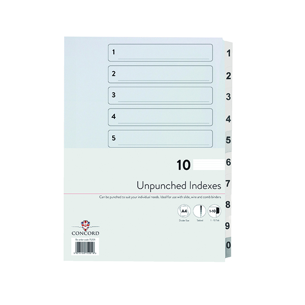 Concord 1-10 Index Presentation Dividers Unpunched A4 White (10 Pack) 75201