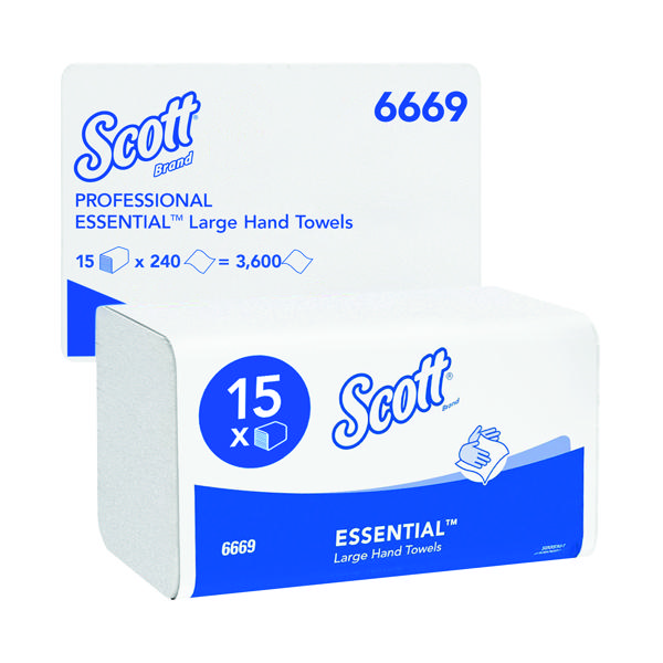 Scott Xtra Hand Towels I-Fold 1-Ply White (3600 Pack) 6669
