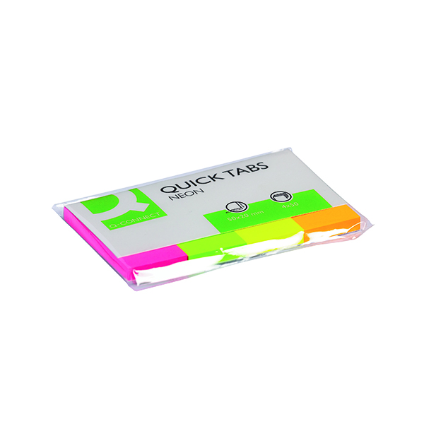 Q-Connect Quick Tabs 20 x 50mm Neon (200 Pack) KF01226