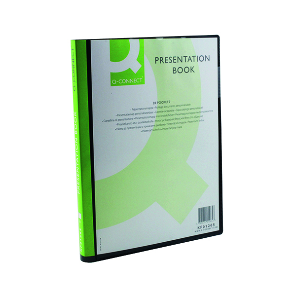 Q-Connect Presentation Display Book 20 Pocket A4 Black KF01265