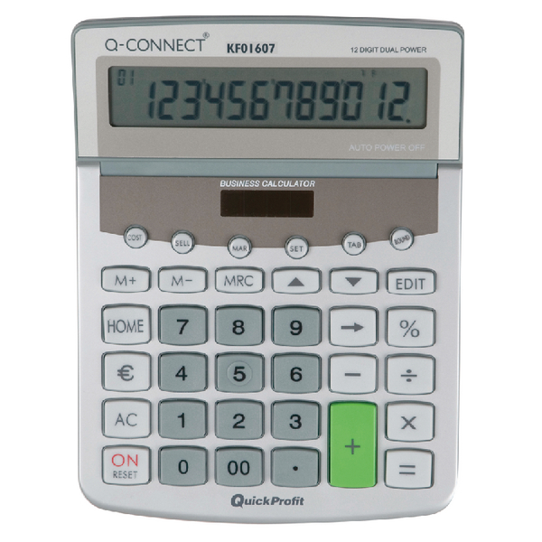 Q-Connect Dual Powered Desktop Calculator 12-Digit Adjustable Display KF01607