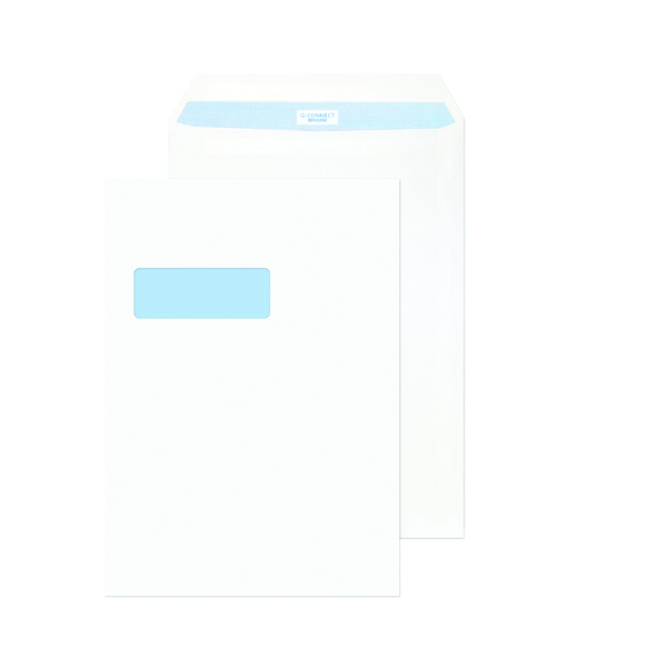 Pack of 250 KF03292 Q-Connect C4 Envelopes 100gsm Window Peel and Seal White