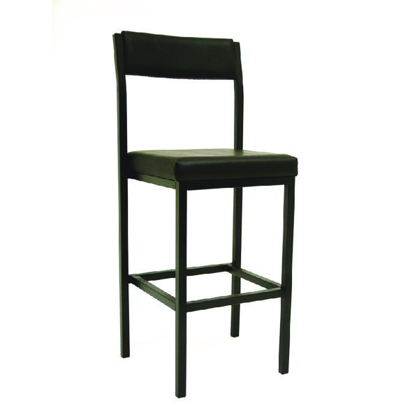 Jemini High Stool with Back Rest Black Vinyl KF03312