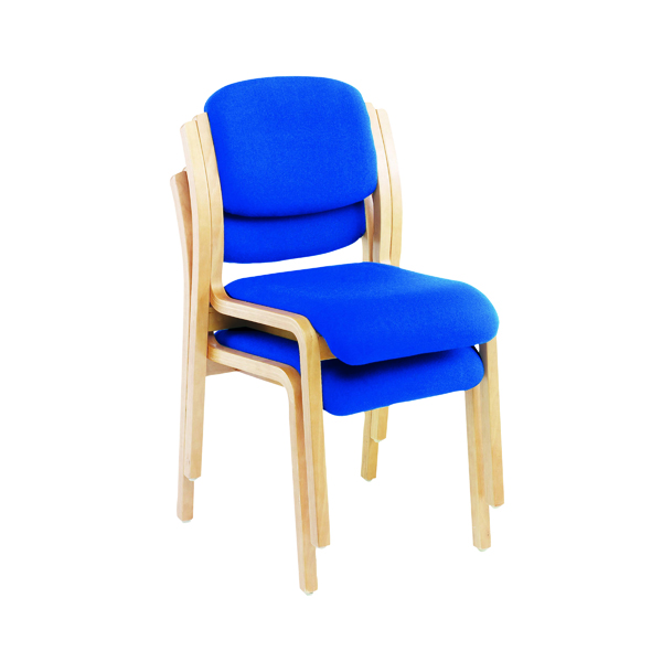 Jemini Wood Frame Side Blue Chair No Arms KF03512