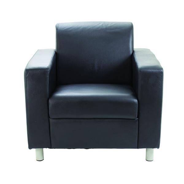 Avior Leather Faced Executive Black Reception Armchair KF03529