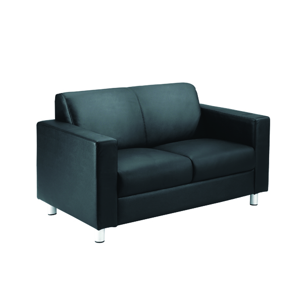 Avior Leather Faced Executive Black Reception Sofa KF03530