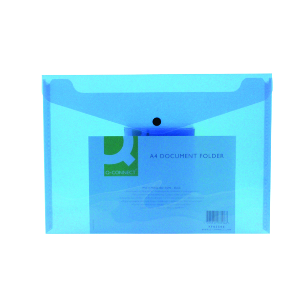 Q-Connect Polypropylene Document Folder A4 Blue (12 Pack) KF03596