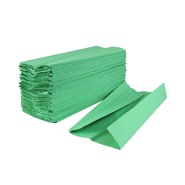 2Work 1-Ply C-Fold Hand Towels Green (2880 Pack) HC128GRVW