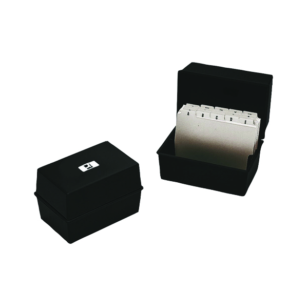 Q-Connect Card Index Box 152 x 102mm Black KF10010