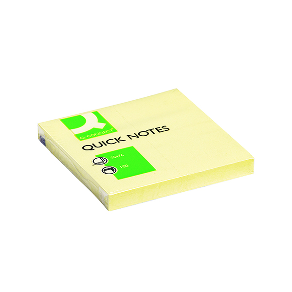 Q-Connect Quick Notes 76 x 76mm Yellow (12 Pack) KF10502