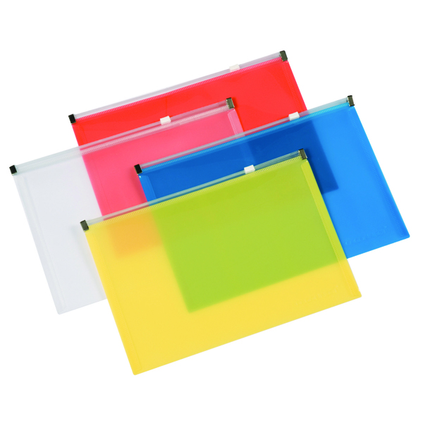 Q-Connect Document Zip Wallet A4 Assorted (20 Pack) KF16552