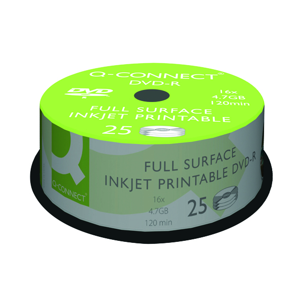 Q-Connect Inkjet Printable DVD-R Discs 16x 4.7GB (25 Pack) KF18021