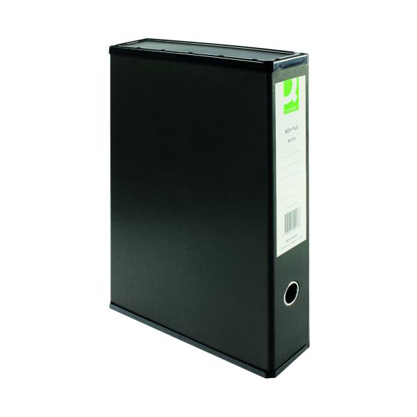 Q-Connect 75mm Box File Foolscap Black (5 Pack) KF20017