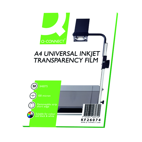 Q-Connect Inkjet Over Head Projector Film (50 Pack) KF26074