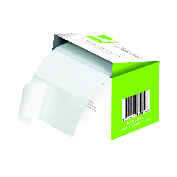 Q-Connect Address Label Roll Repositionable Self Adhesive 89mmx36mm White (200 Pack) KF26092