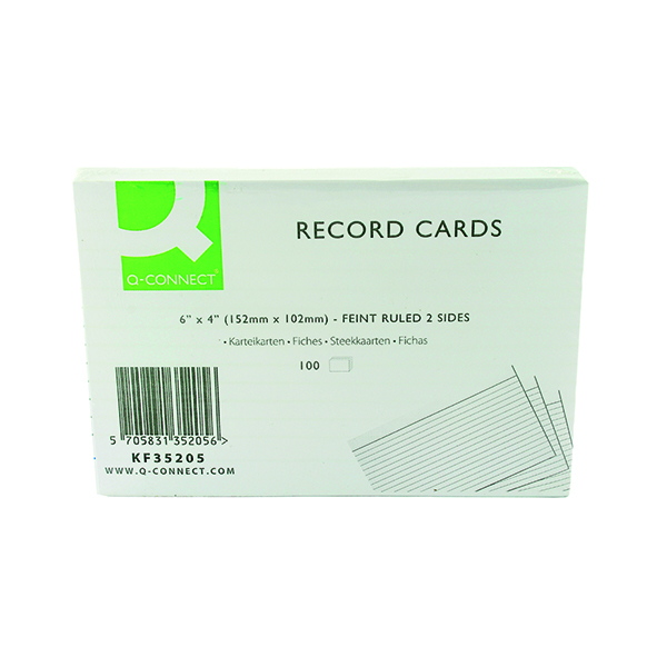 Q-Connect Record Card 152x102mm Ruled Feint White (100 Pack) KF35205