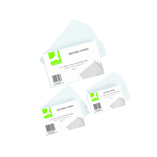 Q-Connect Record Card 203x127mm Ruled Feint White (100 Pack) KF35206