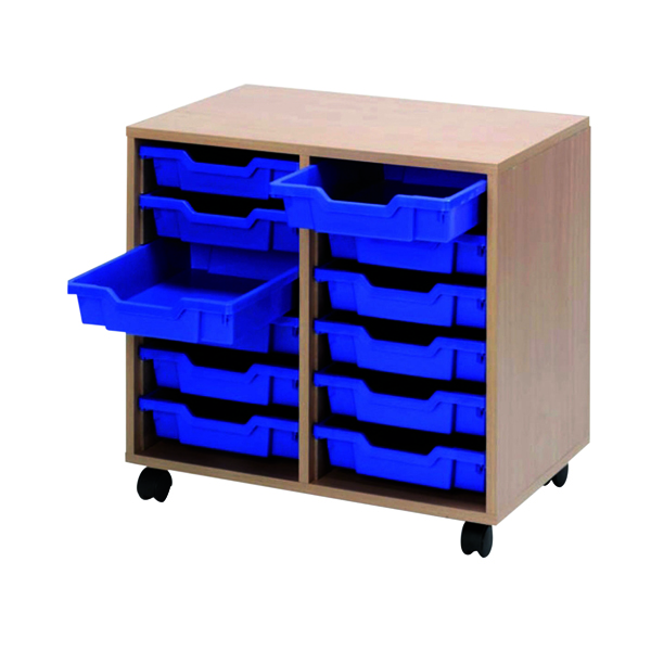 Jemini Mobile Beech Storage Unit 12 Blue Trays KF72339