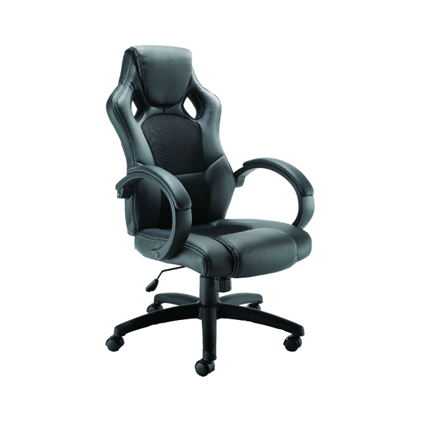 Arista Bolt Leather Look and Mesh Chair KF73591