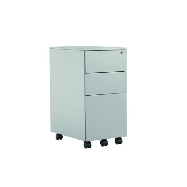 Jemini Silver Mobile Steel 3 Drawer Pedestal Slimline KF74157