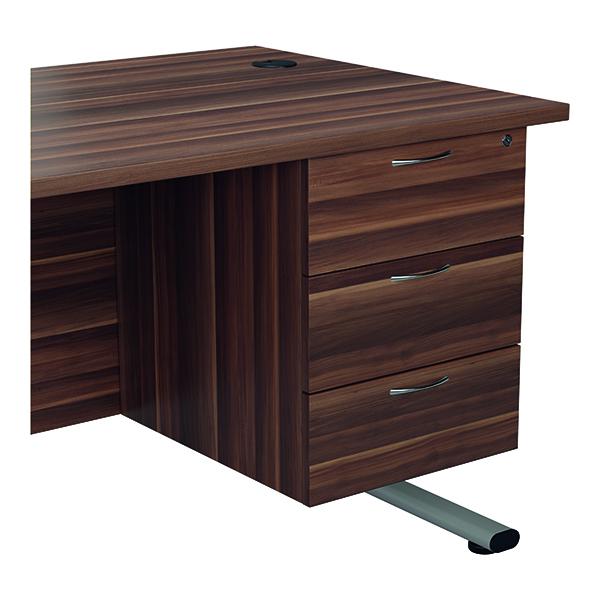 Jemini 655 Fixed Pedestal 3 Drawer Dark Walnut KF74418