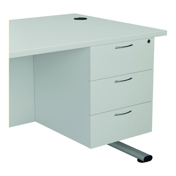 Jemini 655 Fixed Pedestal 3 Drawer White KF74422