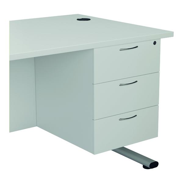 Jemini 655 Fixed Pedestal 3 Drawer White KF74422