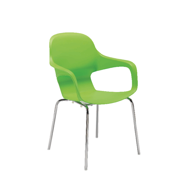 Arista Cafe Bistro Chair with Chrome Base Green KF78672