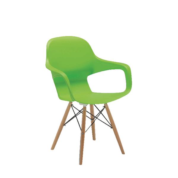 Arista Cafe Bistro Chair with Wire Base Green KF78676