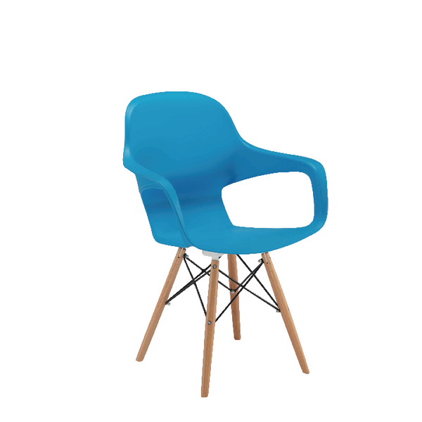 Arista Cafe Bistro Chair with Wire Base Blue KF78679