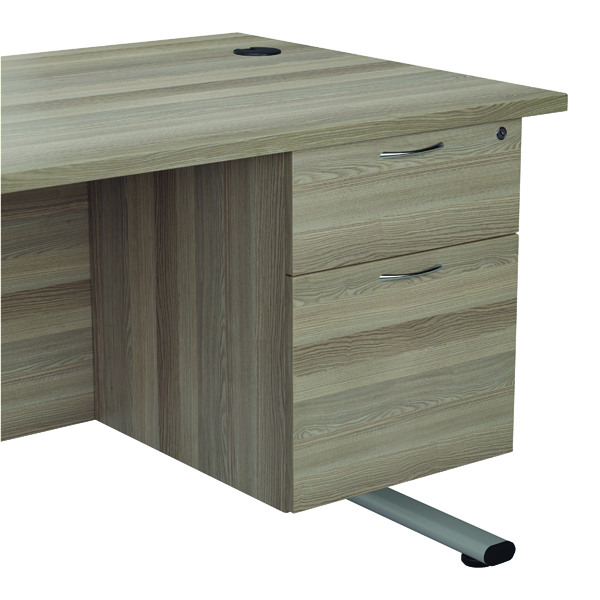 Jemini Grey Oak 2 Drawer Fixed Pedestal KF78939