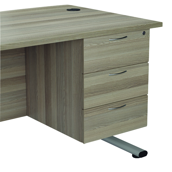 Jemini Grey Oak 3 Drawer Fixed Pedestal KF78941