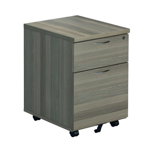 Jemini Grey Oak 2 Drawer Mobile Pedestal KF78943