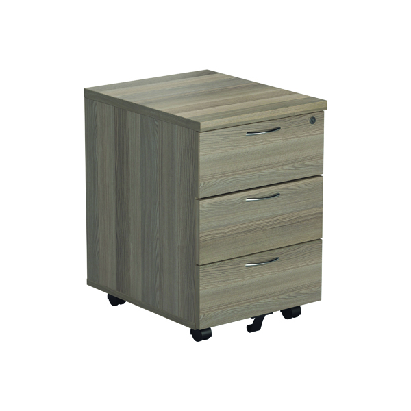 Jemini Grey Oak 3 Drawer Mobile Pedestal KF78945
