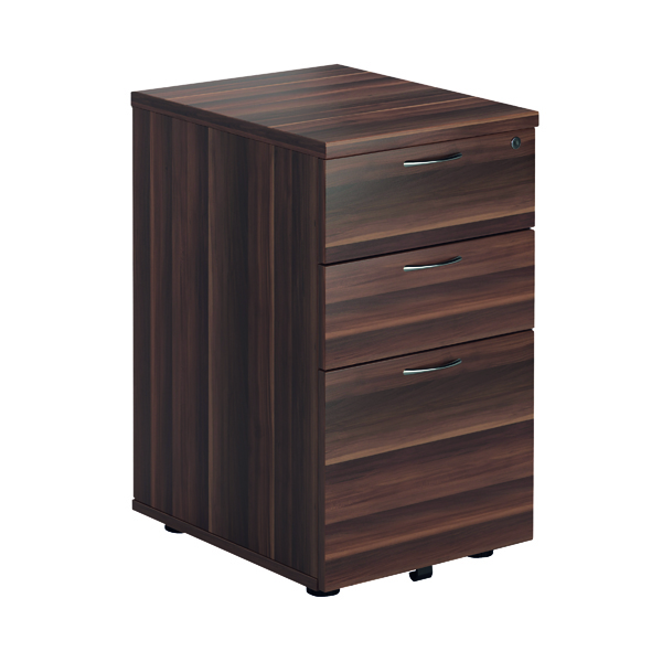 FF Jemini Walnut 3 Drawer Tall Mobile Pedestal KF78946