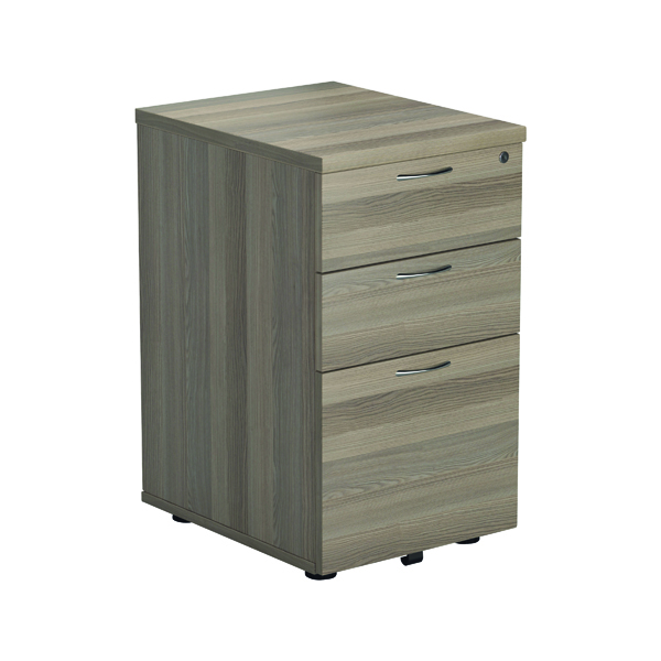 Jemini Grey Oak 3 Drawer Tall Mobile Pedestal KF78947