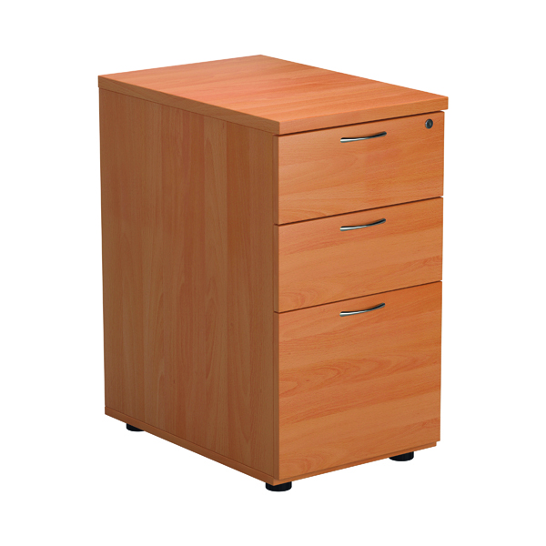 Jemini Beech 3 Drawer Desk High Pedestal 600 Version 2 TESDHP3BE2