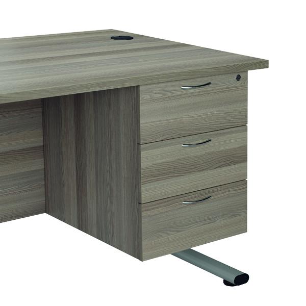 Jemini Grey Oak 3 Drawer Fixed Pedestal TESHP3GO