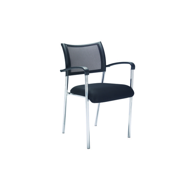 Jemini Jupiter Mesh Back Conference 4 Leg Armchair Chrome Frame KF79891
