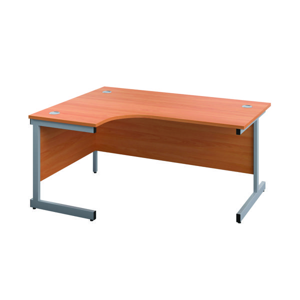 First Left Hand Radial Cantilever Desk 1600x1200mm Beech/Silver KF803010