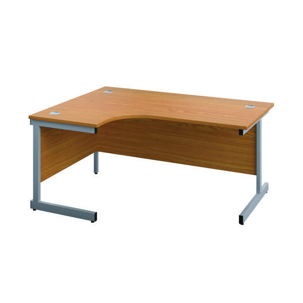 First Left Hand Radial Cantilever Desk 1600x1200mm Nova Oak/Silver KF803027
