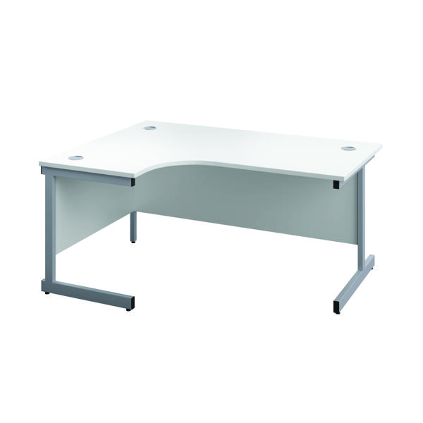 First Left Hand Radial Cantilever Desk 1600x1200mm White/Silver KF803034