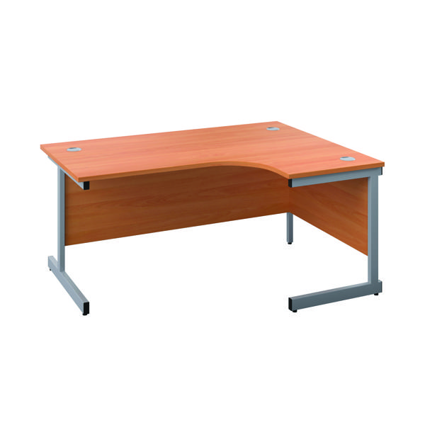 First Right Hand Radial Cantilever Desk 1600x1200mm Beech/Silver KF803041